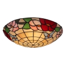 Tiffany Tow Lights Glass Shade with Botanic Pattern Flush Mount Ceiling Light