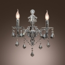 Sparkling Dazzling Clear Crystal Wall Scocne with Two Light Curved Arm
