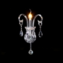 Dazzling Elegant Single Light Crystal Wall Sconce with Graceful Curving Arm