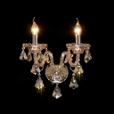 Luxury Champagne Crystal and Brilliant Two Light Formed Spectacular Wall Sconce