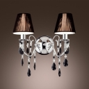 Elegant Decorative Two Light Wall Sconce Features Black  Hardback with Lined Fabric Shade