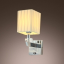 Stunning Modern Wall Sconce Makes Great Decor with Faceted Crystal Bobeche and Beige Fabric Shade