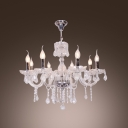 Chrome Finished 8-Light Shinning Clear Crystal Bobeches and Drops Chandelier