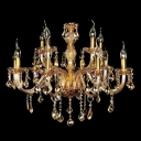Large Brilliant and Sparkling 12-Light Traditional Golden Candle Lights Chandelier