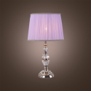 Eye-catching Crystal Table Lamp Featuring Faceted Crystal and Light Purple Shade