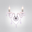 Sparkling Pink Crystal and Chrome Wall Sconce Makes Updated Modern Flair