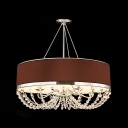 Charming Chic Pendant Light Features Beautiful Crystal Strings and Brown Drum Shade Offers Ambient Light
