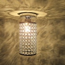 Bright Crystal Beads Embedded Cylinder Shaped Semi-Flush Mount Ceiling Light