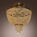 Draped Crystal Strands Surround Metal Frame for Bright Sparkling Ceiling Accent