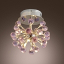 Finely Hand Cut Purple Small Crystal Balls Romantic 6-Light Semi Flush Mount
