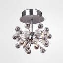 Sparkling Clear Crystal Spheres Starburst Flush Mount Light Finished in Chrome