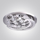 Glittering Moon and Stars Stainless Steel Canopy LED Flush Mount Light Accented by Crystals