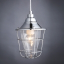 1 Light Warehouse Mini Caged Pendant Light with Clear Glass