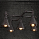 Medium 5-light LED Pendant Chandelier in Black Finish
