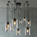 Retro Large LED Multi Light Pendant Light with Clear Cylindrical Shade