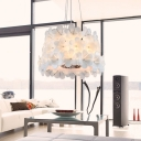 Adorable Modern White Flower Covered Pendant Light