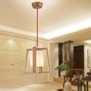"""Exquisite 9""""Wide Wood Cage Shaped Designer Mini Pendant Lighting"""