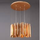 "Round Wooden Canopy And Cluster Of Wooden Sticks Designer Pendant Light 23.6"" Wide"