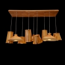 Bold Design Nine Lights Wood Designer Multi-Light Pendant for Restaurant