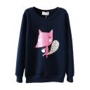 Cartoon Fox Print Round Neck Sweatshirt