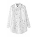 White Plain Floral Pattern Lapel Single Breast Long Sleeve Blouse