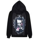 Mirror Dog Skeleton Print Black Hoodie