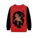 Dead Goblin Print Red Sweatshirt