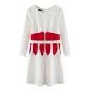 Abstract Pattern Round Neck Long Sleeve Ruffle Hem Dress