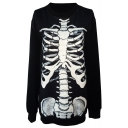 Unique Skeleton Print Black Sweatshirt