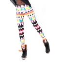 Colorful Geometric Print Skinny Elastic Waist Pencil Leggings