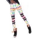 Colorful Geometric Print Skinny Elastic Waist Pencil Leggings