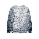 Rimous Wall Print White Sweatshirt