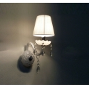 Breathtaking Refined White Fabric Hardback Shade Support Stunning Wall Sconce with Crystal Beads