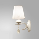 Elegant Shimmery Crystal Droplets and White Finish Add Charm to Stunning Single Light  Wall Sconce