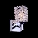Glittering Crystals Enhanced Striking Single Light Modern Wall Sconce in Polished Chrome Finish Square Iron Frame