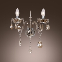 Two Light Wall Sconce Features Gleaming Hand-cut Crystal Curving Arms and Droplets