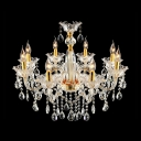 Clear Crystal Bobeche and Hand Cut Crystals Shinning Gold Chandelier