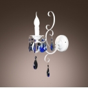 Chic Decorative Wall Sconce Features Beautiful Scrolls and Distinguished Blue Crystal
