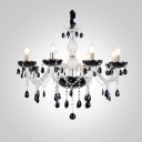 Glamorous Chandelier in White Finish Frame Features Crystal Droplets and Eight Candelabra-style Bulbs