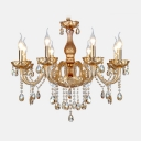 Sophisticated Chandelier Features Hand-formed Crystal Arms and Finely Cut Crystal Pendants and Bobeche