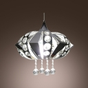 Stainless Steel Large Pendant Light Accented by Clear Crystal Beads and Spheres