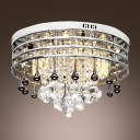 Clear Crystal Drops Cascades with Polished Stainless Steel Metal Web Shade Flush Mount