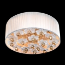 Cluster of Crystal Balls and White Flowers 5-Light Romantic Flush Mount Lights