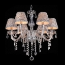Shinning 6-Light Clear Crystal Chandelier Hanging Sparkling Crystal Beaded Strands