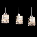 Contemporary and Bold Faceted Crystal Falling Elegant Multi-Light Pendant Light with 3-Light