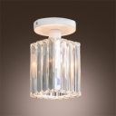 Elegant Semi Flush Mount Features All White Finish and Square Crystal Shade Creating Welcomed Embellishment
