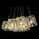 Dazzling Six Crystal Glass Shades Add Glamour to Contemporary Multi Light Pendant