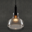 Smoke Grey Vintage Industrial LOFT Glass Pendant 17CM