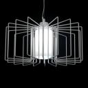 Modern White Basket Shaded One-light Pendant