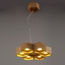 Six Lights Wood Honeycomb Brilliant Designer Large Pendant Light